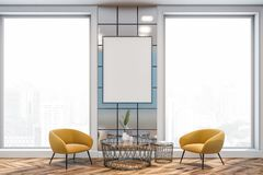Luxury living room, yellow armchairs and poster royalty free stock photos