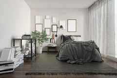 Luxury loft bedroom cluttered with books by wall vector illustration