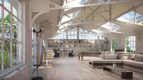 Luxury Loft Interiors Stock Photo