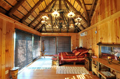 Luxury Log Cabin Accommodation. Luxury thatch Log Cabin Accommodation in a Safari game reserve royalty free stock photos