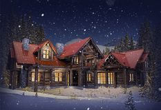 Luxury Log Home Royalty Free Stock Photography
