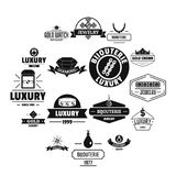 Luxury logo icons set, simple style. Luxury logo icons set. Simple illustration of 16 luxury logo vector icons for web stock illustration