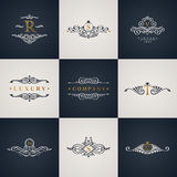 Luxury logo monogram set. Vintage royal flourishes elements. Calligraphic symbol ornament. Letter R, S, V, T, M, G. Vector pattern emblem. Calligraphic design stock illustration
