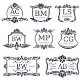 Luxury logo monograms with decorative ornament elements and letters. Vector set Stock Image