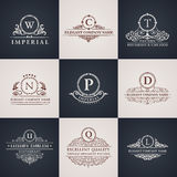 Luxury logo set. Calligraphic pattern elegant. Decor elements. Vintage vector ornament royalty free illustration
