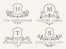Luxury logo set. Calligraphic pattern elegant decor elements.  Royalty Free Stock Photos