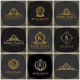 Luxury logo set stock photo