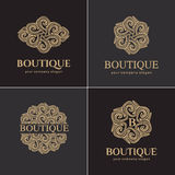 Luxury logo set, vector logo template. A collection of logos for products recommended luxury boutiques, hotels, cosmetics, SPA. Royalty Free Stock Photo