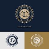 Luxury Logo template flourishes calligraphic elegant ornament lines. Vector illustration of Luxury Logo template flourishes calligraphic elegant ornament lines royalty free illustration