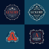 Luxury logo template ornament labels set Royalty Free Stock Photography