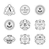 Luxury logo template ornament labels set Royalty Free Stock Photos