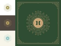 Luxury logo template vector vintage flourishes ornaments. Good for royal crest, boutique brand, hotel sign with flourish frame luxury template royalty free illustration