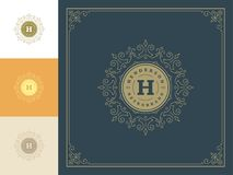 Luxury logo template vector vintage flourishes ornaments. Good for royal crest, boutique brand, hotel sign with flourish frame luxury template stock illustration