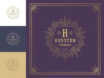 Luxury logo template vector vintage flourishes ornaments. stock illustration