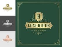 Luxury logo template vector vintage flourishes ornaments. Good for royal crest, boutique brand, hotel sign with flourish frame luxury template vector illustration