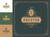 Luxury logo template vector vintage flourishes ornaments. stock illustration
