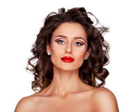 Luxury makeup and hairstyle. Photo of beautiful nude fashion female model with professional makeup and hairstyle on white background Royalty Free Stock Image