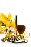 Luxury makeups and jewelry. Celebrating a special day with luxury makeup and jewelry. Isolated on white Stock Photos