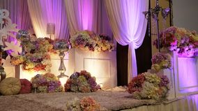 Luxury malay wedding stage from side view. To celebrate the brides on their wedding royalty free stock image