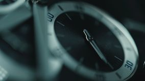 Luxury man watch detail, chronograph or timer close up. Time concept. Macro view.  stock video