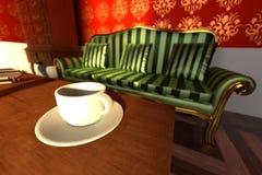 Luxury manor interior - living room. 3d render of luxury manor interior - living room Stock Photo