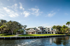 Luxury mansion. In exclusive part of Fort Lauderdale known as small Venice Stock Photos