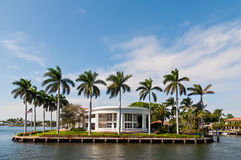 Luxury mansion. In exclusive part of Fort Lauderdale known as small Venice Royalty Free Stock Photo