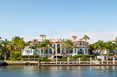 Luxury mansion. In exclusive part of Fort Lauderdale known as small Venice Royalty Free Stock Images