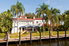 Luxury mansion. In exclusive part of Fort Lauderdale known as small Venice Stock Photo