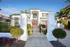Luxury Mansion house front. In suburban district Royalty Free Stock Photography