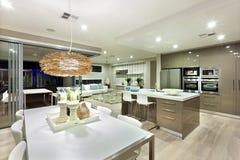 Luxury mansion illuminated by lights stock photo