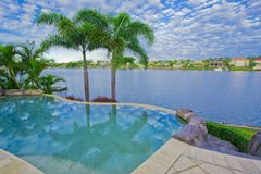 Luxury mansion pool royalty free stock photography
