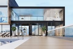 Luxury mansion with a pool on the roof Royalty Free Stock Images