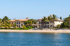 Luxury mansion with a sandy beach. In exclusive part of Fort Lauderdale known as small Venice Stock Photos