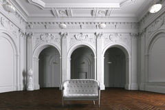 Luxury mansion villa interior with columns. White leather sofa. 3d render royalty free illustration
