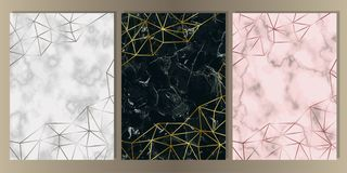 Luxury Marble Cover Set with Geometric Elements. Gold, silver and pink gold and marble cover set. Luxury metal foil and stone abstract A4 background for vector illustration