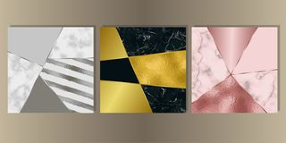 Luxury Marble Cover Set with Geometric Elements. Gold, silver and pink gold and marble cover set. Luxury metal foil and stone abstract background for templstes royalty free illustration