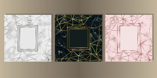 Luxury Marble Cover Set with Geometric Elements. Gold, silver and pink gold and marble cover set. Luxury metal foil and stone abstract template background for stock illustration