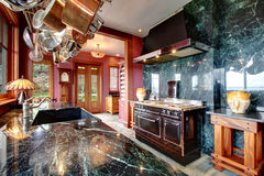 Luxury marble kitchen room Royalty Free Stock Images