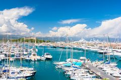 Luxury marina in Antibes on french riviera, cote d`azur, France Royalty Free Stock Photography