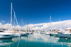 Luxury marina in Antibes on french riviera, south France Royalty Free Stock Photography