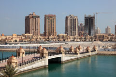 Luxury marina in Porto Arabia. Doha, Qatar Royalty Free Stock Image