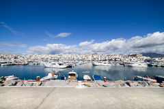 Luxury Marina of Puerto Banus Skyline Stock Photos