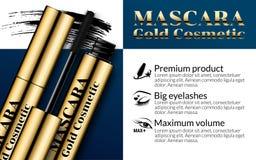 Luxury mascara ads gold package with eyelash applicator brush mascaras VIP background. Cosmetics Advertising Stock Image