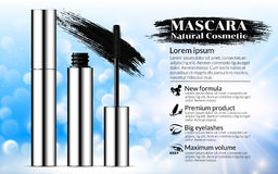 Luxury mascara brush silver package with eyelash applicator Cosmetics Advertising Banner Billboard Poster Catalog. Package Design. Promotion Product blue Royalty Free Stock Image