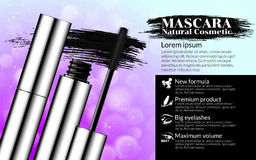 Luxury mascara brush silver package with eyelash applicator Cosmetics Package Design Promotion Product pink background Stock Photo