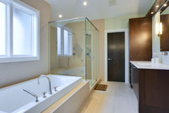 Luxury Master Bath. With glass shower and large bath tub stock images