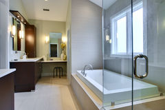 Luxury Master Bath. With glass shower and large bath tub stock photo