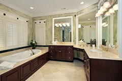 Luxury master bath. With cherry wood cabinetry Royalty Free Stock Photography