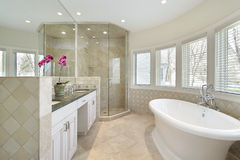 Luxury master bath with glass shower Stock Photography
